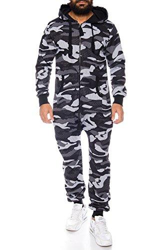 Crazy Age Herren Jumpsuit Overall Strampeler Latzhose Ganzkörperanzug Sweat Camouflage Design. Warm, Weich, Sportlich (XL, Schwarz/Weiß)