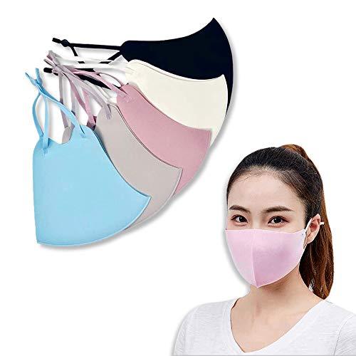 6 Pack Unisex fabric Face Mask Washable and Reusable, Bandanas – Black White Grey Pink Blue –...