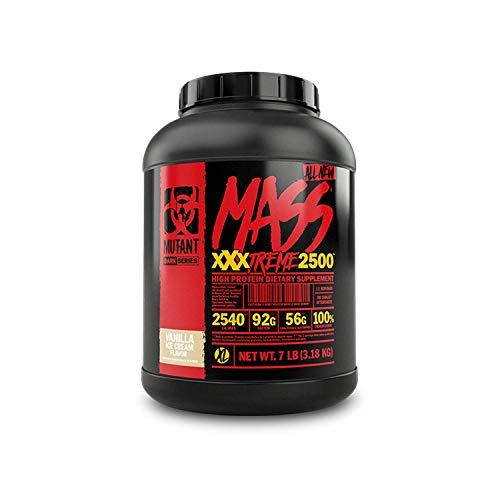 Mutant Mass XXXtreme Mass Gainer Molkenproteinpulver, Hohe Kaloriendichte zum Aufbau von Muskelgröβe & Kraft – 7 lbs – Vanille