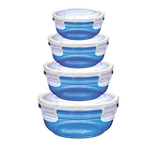 Grizzly 4er Set Frischhaltedosen (0,4L, 0,8L, 1,4L, 2,3L), rund, Kunststoff, 100% Luft-/wasserdicht, mikrowellengeeignete Vorratsdosen, Blau