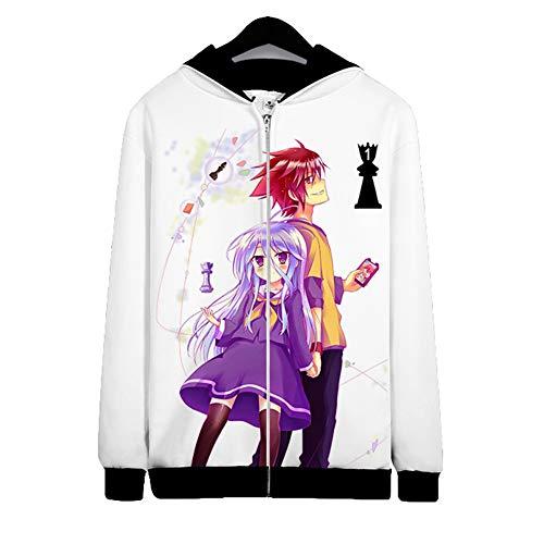 Kein Spiel Kein Leben Anime Kapuzen Sweatshirt,3D Print Reißverschluss Hoodies Mantel Fleecejacke Für Anime Fans H M