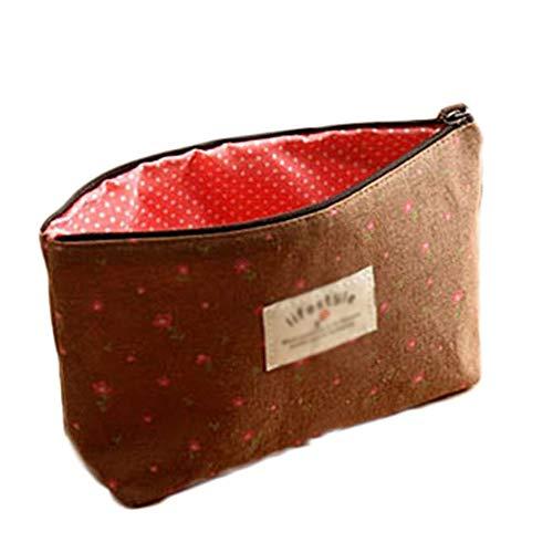 N-brand PULABO High endMakeup Bag Makeup Kit Pattern Flowers Flannel Cosmetics Travel Zipper Bag Brown Creative and Useful