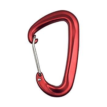Climbing Clamps Clips de mousqueton 5nn de haute qualité 4 Pack Petit Caraïbes Wiregate for Gym Hammock Sac à dos Keychain Laisse de chien Heavy Locking Carabiner ( Color : Red , Size : 80x48mm )