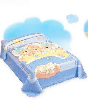 BabySac couverture bébé garçon 3 en 1 - N°116 oursons et chaton dans berceau- Bleu