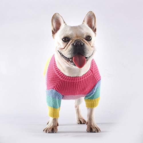 HELEVIA - Maglione arcobaleno per cani Bulldog lavorato a maglia colorata animale inverno vestiti per cani pullover tuta tuta costume costume