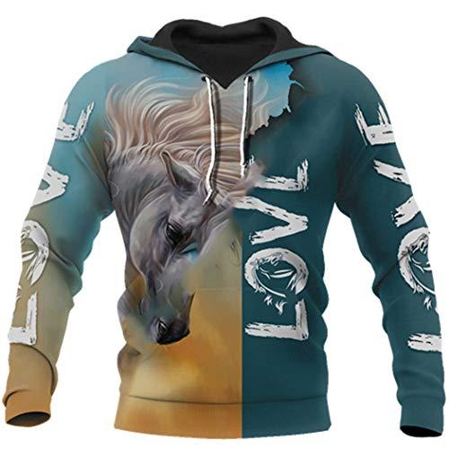 Animal Horse Tattoo Streetwear Chándal Moda 3D Print Otoño Casual Pullover Zipper Hoodies Hoodies 3XL