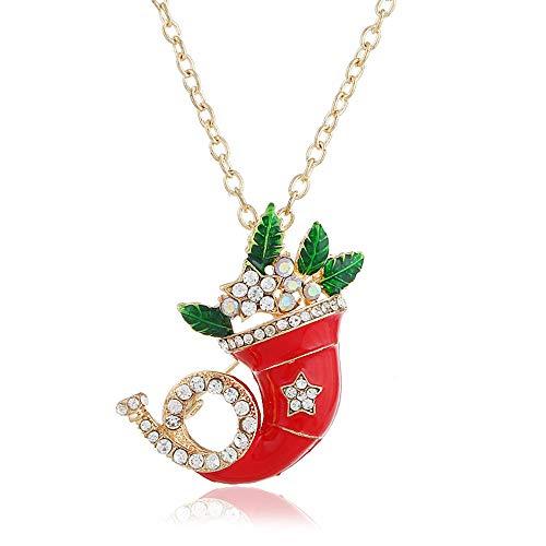 für Weihnachten Hochzeit Dekoration,Weihnachtsaccessoires,europäische und amerikanische Mode Persönlichkeit kleine Trompete Pullover Kette Halskette,Männer und Frauen Dual-Use-Blatt Brosche @ Gold