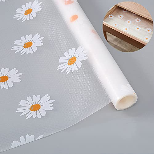 """Shelf Liner Drawer Liner for Kitchen, Non-Adhesive Waterproof Transparent EVA Refrigerator Cabinet Drawer Pantry Shelves Liner, Non-Slip Can be Cut Placemats (Daisy/17.7""""x78.7"""")"""