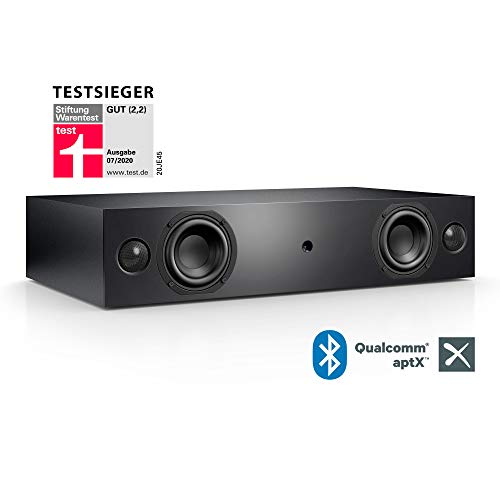 Nubert nuBox AS-225 Soundbar Testsieger | Soundplate für Streaming | TV-Lautsprecher mit Bluetooth aptX | Soundbase mit 2 Wege Technik | vollaktive Stereobase für Spitzenklang | Sounddeck Schwarz