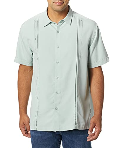 Cubavera Men's Short Sleeve Cuban Camp Shirt with Contrast Insert Panels, Gray Mist with Variating Tuck Pattern, XX-Large