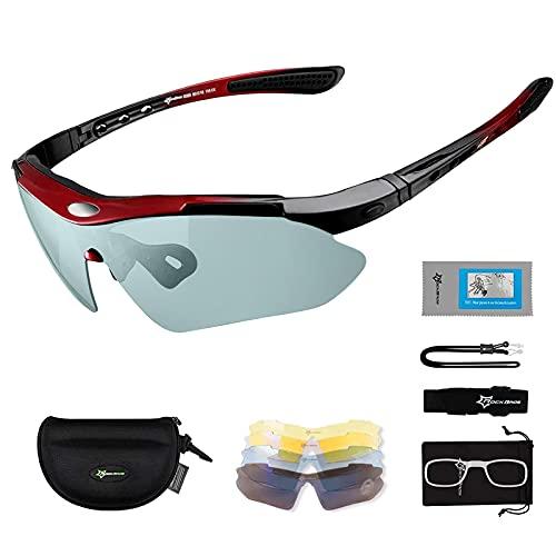 Gafas de Sol Polarizadas con 5 Lentes Intercambiables para Ciclismo Bicicleta Running Deportes Protección UV 400 Anti Viento para Hombre y Mujer