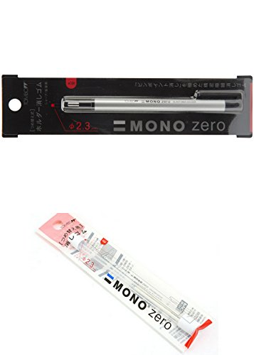 Tombow MONO Zero Eraser, Round Tip, Retractable, Silver Barrel (Eraser with an extra refill (57305 and 57307))