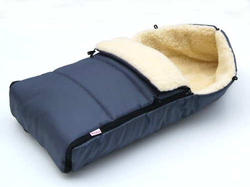 BABYLUX Fußsack LAMMWOLLE 90cm Winterfußsack Kinderwagen- Babyschale- Fußsack (Graphit)