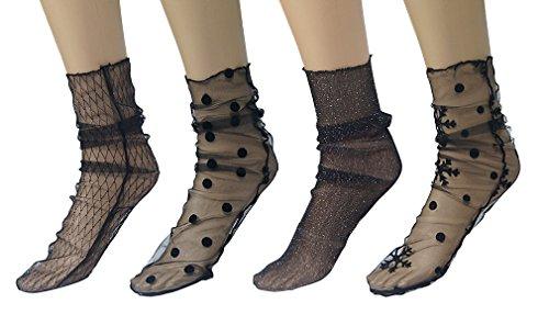 Hikong Damen 4 Paare Kurz Netzstrumpf Kristall Spitze Socken Söckchen Transparente Lace Strumpf Spitzensocken Gothic Sommer Schwarz, B, Einheitsgröße