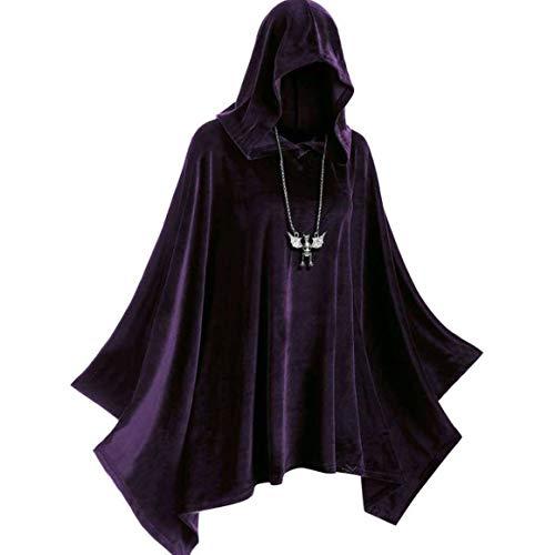 KoelrMsd Juego de Roles Disfraz de Escenario de Halloween Brujas Vampiros Sombrero de Bruja Medieval Cape Corner Renaissance Gothic Cosplay Disfraz
