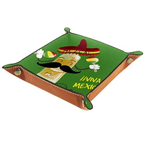 KAMEARI Ledertablett niedlich lustig Cartoon mexikanisches Tequila Muster Schlüssel Telefon Münzbox Rindsleder Münztablett Praktische Aufbewahrungsbox