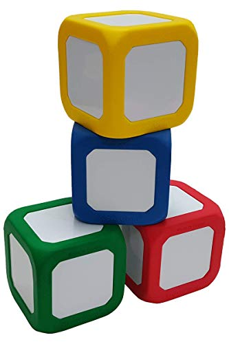 Macro Giant 3.4 Inch Foam Dry Erase Block, Set of 4, Red & Blue & Yellow & Green, Magnetic, Teaching Learning Aid Tool, Kid Toy, Versatile Learning