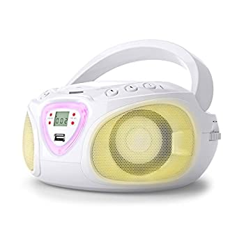 auna Roadie Kids Portable Boombox with CD Player and Radio LED Light AM/FM Radio Bluetooth MP3/CD Player Aux-Input Headphone Jack White