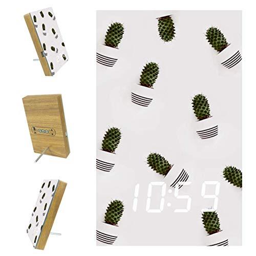 nakw88 Reloj despertador digital con diseño de cactus, plantas y dormitorios, con puerto USB para cargar, oficina y decoración del hogar
