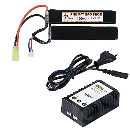 Batería li-po de 7,4 V y 1100 mAh de Dos Elementos y Cargador de baterías li-po. Recomendado para réplicas Tipo M4 en Las Que la batería va alojada en el Tubo de la Culata.