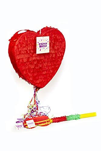 Trendario Herz Pinata Set, Pinjatta + Stab + Augenmaske, Ideal zum Befüllen mit Süßigkeiten und Geschenken - Piñata für Kindergeburtstag Spiel, Geschenkidee, Party, Hochzeit
