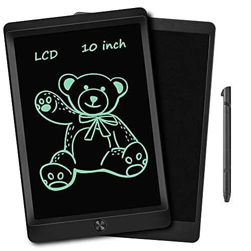 Tableta Escritura LCD, 10 Pulgadas Tableta de Dibujo LCD de Portátil y Reutilizable, Tablero Escritura con Tecla de Borrado, Para Escribir o Dibujar, Regalos para Niños