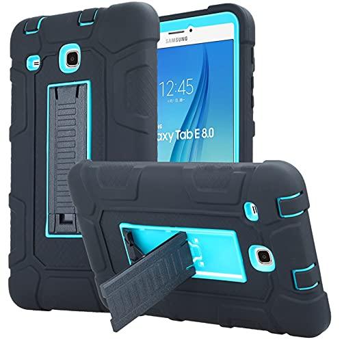 DETUOSI Case for Samsung Galaxy Tab E 8.0' Case 2016 (Model: SM-T377/T375), 3-Layers Hybrid Heavy Duty Full-Body Armor Kickstand Protective Case Cover for Samsung Tab E 8.0 inch (Black & Sky Blue)