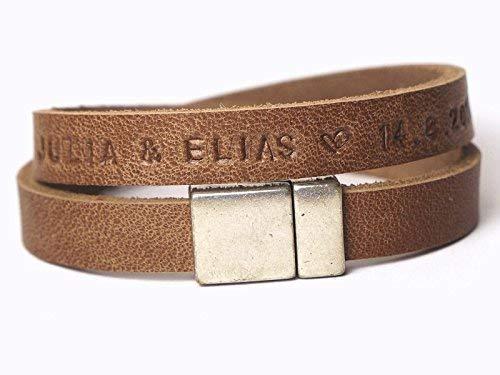 Namensarmband LEDER Familienband Art. 67b Personalisertes Armband, Weihnachtsgeschenk, Valentinsgeschenk, Geschenk für Männer