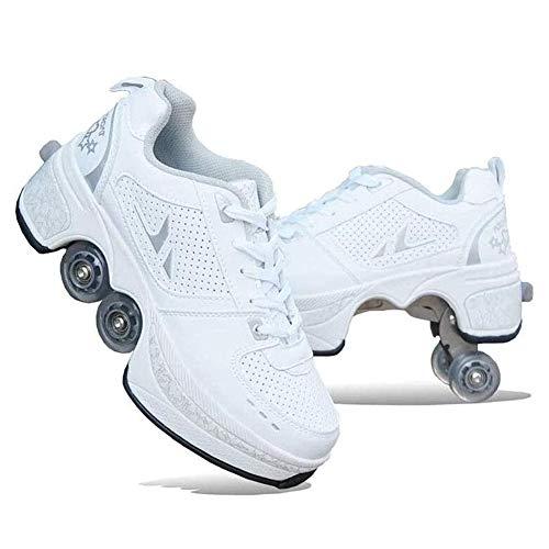 HealHeatersⓇ Inline-Skate 2-In-1-Mehrzweckschuhe Verstellbare Quad-Rollschuh-Stiefel Deformation Schuhe Rollschuhe Skating Outdoor Sportschuhe Für Erwachsene, Weiß,42