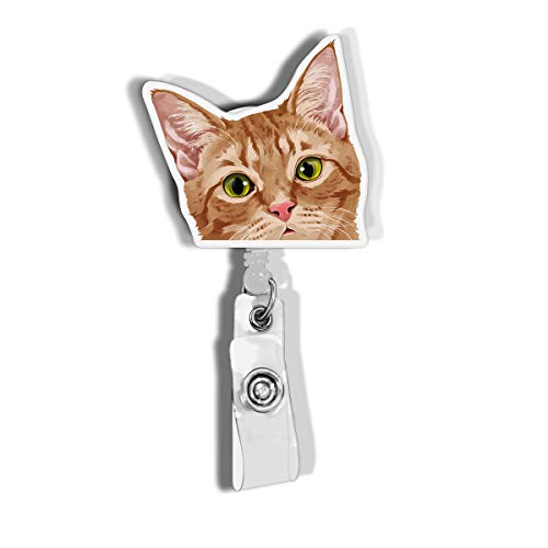 WIRESTER Retractable Badge Reel ID Holder with Alligator Clip for Office Worker, Medical Staffs, Student - Orange Tabby Kitten Cat