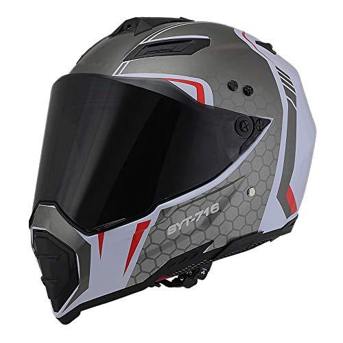 Woljay Dual Sport Off Road Motorcycle Helmet Dirt Bike ATV D.O.T Certified (White+Silver, L)