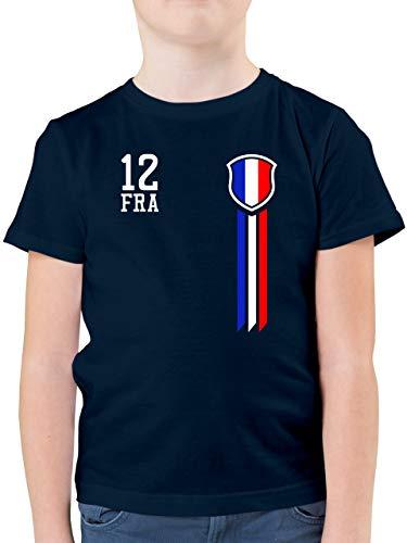 Fussball EM 2021 Fanartikel Kinder - 12. Mann Frankreich Fanshirt - 104 (3/4 Jahre) - Dunkelblau - Trikot Frankreich 2021 - F130K - Kinder Tshirts und T-Shirt für Jungen