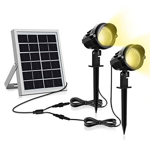 Solar Gartenleuchte MEIKEE 300LM Garten Solarstrahler IP66 Wasserdicht LED Solarlampe Außen Solarleuchte 2 Stück mit Erdspieß Wegeleuchte für Bäume, Sträucher, Gartenweg, Rasen, Hof 3000K Warmweiß