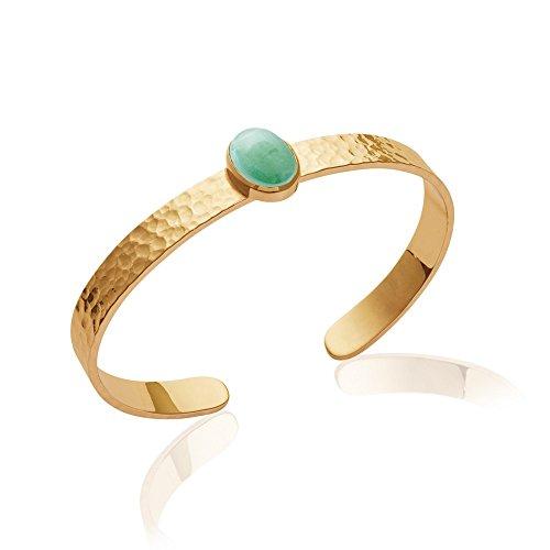 Tata Gisèle braccialetto a cerchio placcato in oro–martellato–vera avventurina sertie–58mm–Bustina regalo velluto in omaggio