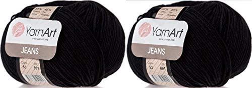 Amigurumi Baumwollgarn, YarnArt Jeans Garn 55% Baumwolle 45% Acryl Lot of 2 Knäuel 100g 350yds Stricken Acryl Baumwolle 2 Sport Garn (53 Schwarz)