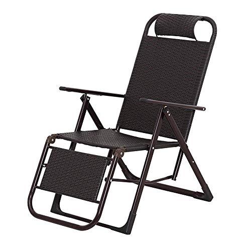 YLCJ Lunch break Opvouwbare rieten stoel Deck stoel | Opvouwbare ligstoel rotan stoel bureaustoel | Thuis balkon Lazy schommelstoel | Thuis outdoor draagbare stoel | Schommelstoel oud A ++ stoel