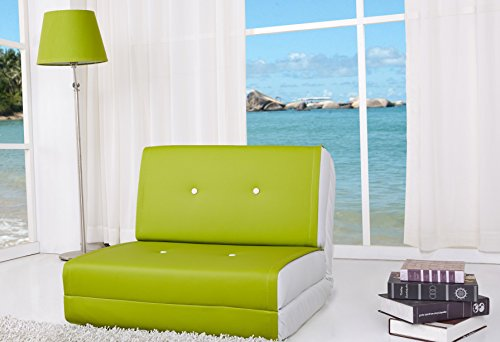 ARTDECO Schlafsessel Jugendsessel Gästebett Kindersessel Klappsessel Kunstleder grün-weiß klein