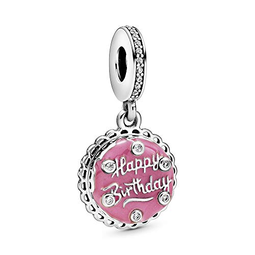Pandora Rosafarbene Geburtstagstorte Charm-Anhänger, Mehrfarbig, 1,38cm, 798888C01