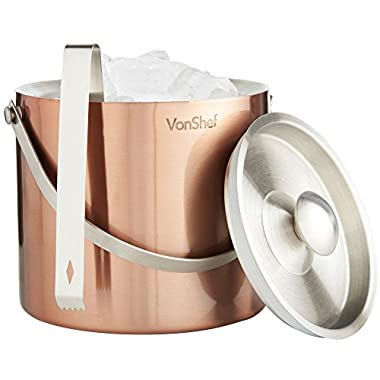 VonShef 3 Liter Copper Stainless Steel Ice Bucket Barware Kit - Double Walled Insulated with Lid, Carry Handle and Tongs Set