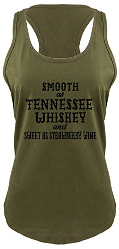 Ladies Racerback Tank Smooth As Tennessee Whiskey Military Green with Black Print M