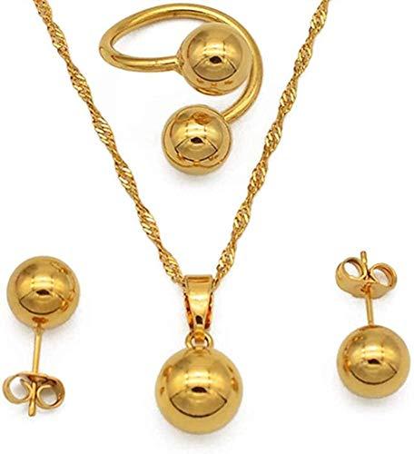 Collar de cuentas, pendientes, anillo para mujeres / niñas, abalorios de moda, juegos de joyas de bolas redondas, regalos de Arabia Nigeria, collar de longitud de 60 cm, cadena fina