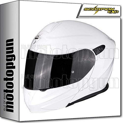 SCORPION casco moto modulare Exo 920 solid white bianco lucido M apribile