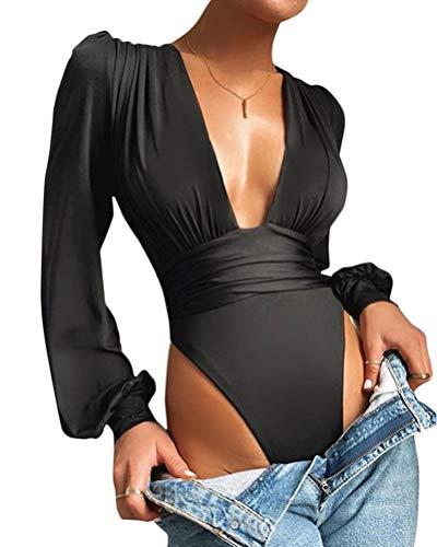 Onsoyours Body Vestir para Mujer V Profunda Mono Bodysuit Mangas Largas Sexy Elegante Fiesta Body Leotardo Body Stretch Bodycon Blusa A Negro S