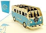 Lin 17574, Pop Up Karte Bus, Pop Up Karte, POP UP Karten Geburtstag, Pop Up Geburtstagskarte, 3D Grußkarten Auto, Bulli Bus Grußkarte, Geburtstagskarten, Gutschein Urlaub, Bulli Bus blau, N333