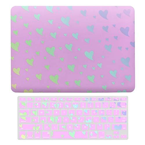 Carcasa rígida de plástico para MacBook Air 13 A1466 y A1369, compatible con MacBook Air 13, diseño de corazón rosa plateado y morado