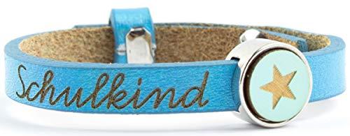 Milosa Schulkind Armband aus Leder (größenverstellbar), Armband zur Einschulung, Schultüte Inhalt, Schulanfang Geschenk, Farbe:Blau
