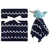 Hudson Baby Unisex Baby Plush Blanket with Security Blanket, Boy Narwhal, One Size