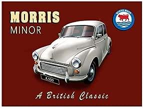 BinLtd Morris Minor Vintage Style Metal Signs, Wall Decor Art Tin Sign, Decorative Coffee Bar Sign, 8x12 Inches