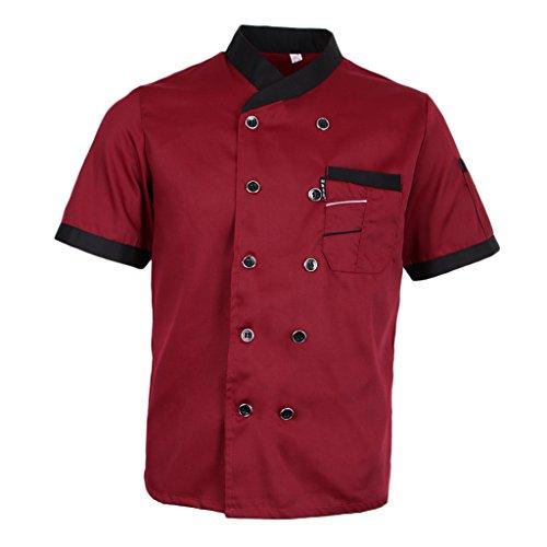 Sharplace Küche Uniform Kochjacke Bäckerjacke Arbeitskleidung Sommer atmungsaktive Arbeitsjacke für Gastronomie - Rot, L