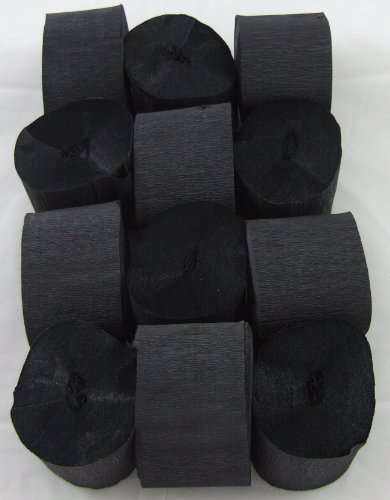 12 Negro. Papel crepé serpentinas 45mm x 10metros. 14 colores vibrantes siempre en stock